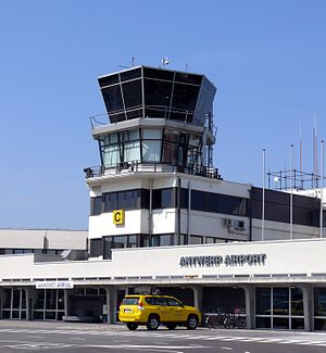 Control tower and terminal building at Antwerp International Airport