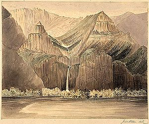 Artist's rendering of a tall, narrow waterfall cascading down a series of vertical or nearly vertical rock faces into a big river. Mountains, largely devoid of vegetation, rise on both sides of the waterfall and connect to a range of mountains in the background.