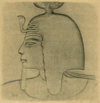 Drawing of a relief of pharaoh Sethnakht.
