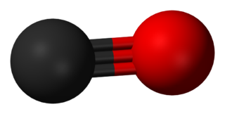 A carbon atom (shown as a grey ball) tripled bonded to an oxygen atom (shown as a red ball).