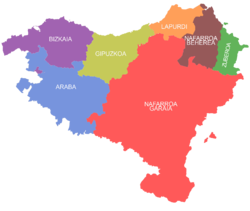 The seven provinces of the Basque Country, as claimed by certain Basque sectors.