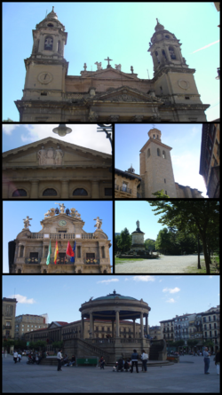Top:Cathedral of Royal Saint Mary, 2nd left:Navarra Palace, 2nd right:San Saturnino Church, 3rd left:Pamplona City Hall, 3rd right:Monument of Julian Gayarre in Taconera Park, Bottom:Castle Square