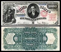 $1,000 Legal Tender note, Series 1878, Fr.187a, depicting DeWitt Clinton.