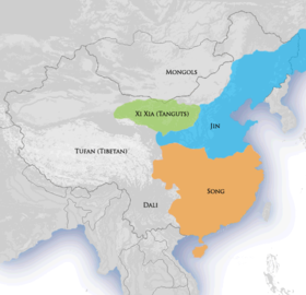 Map of China in 1141 with the Jin dynasty controlling the north and the Southern Song dynasty controlling the south