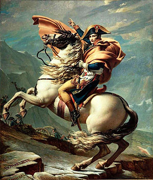 Highly-detailed painting of a military figure charging uphill on a white horse. The man is wearing a blue jacket and pants and an orange cloak, and pointing upwards. The horse is rearing.