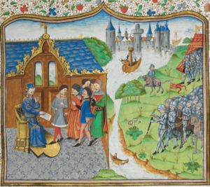 Edmund of Langley remonstrating with the King of Portugal - Chronique d' Angleterre (Volume III) (late 15th C), f.186r - BL Royal MS 14 E IV.png