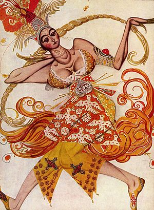 stylised picture of a female dancer in an ornate red and yellow dress