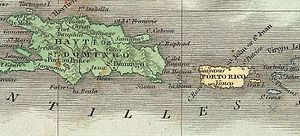 Old map of Hispaniola and Puerto Rico