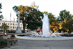 Ely Park fountain and Civil War memorial in downtown Elyria