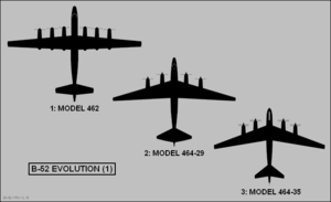 Early proposals of the B-52 planform shapes. The first of the three are of straight wing with six turboprops. The other two involve wings with varying degrees of swept.