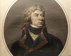 Color print of a long-haired man with a proud bearing. He wears a blue military coat trimmed with gold lace while there is a black kerchief at his throat.