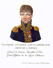 Colored print of a man in a dark blue uniform of the early 19th century. The label reads François Antoine Louis Bourcier.