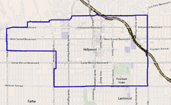 Map of the Hollywood neighborhood of Los Angeles,as delineated by the Los Angeles Times