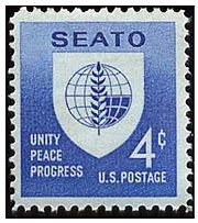 A picture of a U.S. postage stamp bearing the SEATO emblem