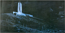 A crowd of dark and ghostly soldiers are scattered on a hill of churned ground, shell holes and general battlefield detritus. A memorial, painted in white, is located at the top of the hill.