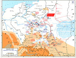 A map showing the disposition of all troops following the Soviet invasion.