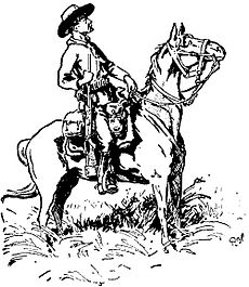Baden-Powell's sketch of Chief of Scouts Burnham, Matopos Hills, 1896. Burnham is seated on a horse with his rifle at his side, and he is wearing his Stetson hat and neckerchief. Both Burnham and his horse are shown profile, facing right.