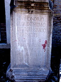 A monument from the Forum Romanum describing Honorius as most excellent and invincible