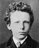 black and white formal headshot photo of the artist as a boy in jacket and tie. He has thick curly hair and very pale-colored eyes with a wary, uneasy expression