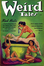 Magazine cover showing a naked woman held on an altar by other woman and about to be sacrificed.