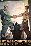 Painting of soldier and workman shaking hands