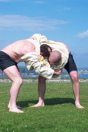 Gerry and Ashley Cawley wrestling at Pendennis Castle, 6 May 2002