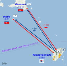 Map of the shelling of Yeonpyeong.