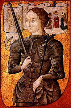 Joan of Arc in plate armor holding sword facing left with gilded background