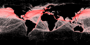 Map showing shipping routes