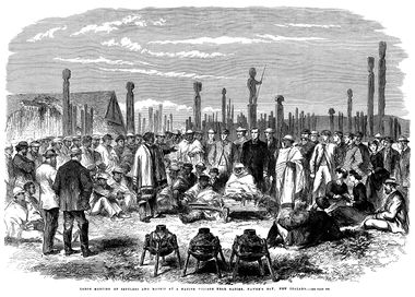 Black and white engraving depicting a crowd of people