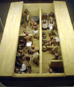 A funerary model of a bakery and brewery, dating the 11th dynasty, circa 2009-1998 B.C. Painted and gessoed wood, originally from Thebes.