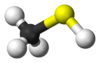 Ball-and-stick model of the methanethiol molecule