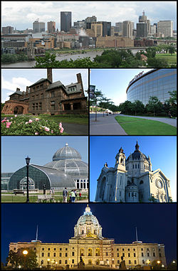 Clockwise from the top: Downtown Saint Paul as seen from the Southwest, the Xcel Energy Center, the Cathedral of Saint Paul, the Minnesota State Capitol, the Marjorie McNeely Conservatory, and the historic James J. Hill House