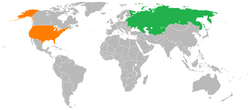 Map indicating locations of Soviet Union and United States