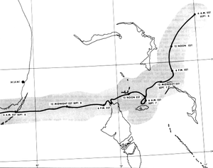 Map showing the erratic track of a tropical cyclone as denoted by a thick black line. A gray, shaded region around the line indicates the width of the eye.