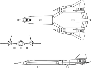 Orthographically projected diagram of the Lockheed YF-12.