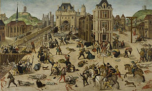 painting of St. Bartholomew's Day massacre, convent church of the Grands-Augustins, the Seine and the bridge of the Millers, in the center, the Louvre and Catherine de' Medici.
