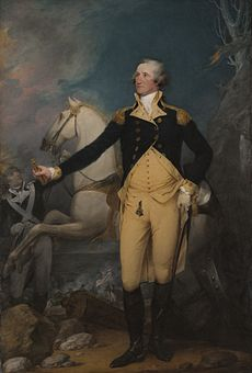 General George Washington in front of a white horse, on the night before the Battle of Princeton