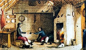 Two men in front of a fireplace about to exchange a drink