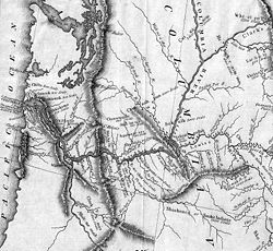 Early grayscale map of the lower Columbia River and its tributaries and surrounds showing the locations of mountain ranges and Indian villages from what is now eastern Washington to the Pacific Ocean.