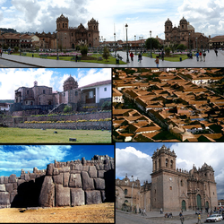 Top: Plaza de Armas, Middle left: Qurikancha, Middle right: Aerial view of Cusco, Bottom left: Saksaywaman, Bottom right: Cathedral of Cusco