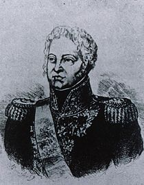 Black and white sketch of a man with long sideburns. He wears a dark military uniform of the 1810 period with high collar, epaulettes and lots of gold braid.