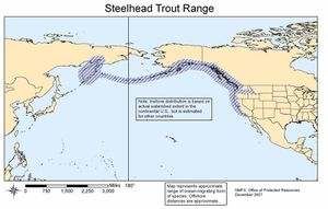 Map of native range of anadromous form-steelhead