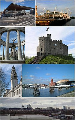 Clockwise from top left: The Senedd, Millennium Stadium, Norman keep of Cardiff Castle, Cardiff Bay, Cardiff City Centre, clock tower of City Hall and the Welsh National War Memorial