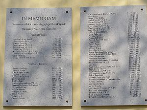 memorial wall plaque of Estonian government members
