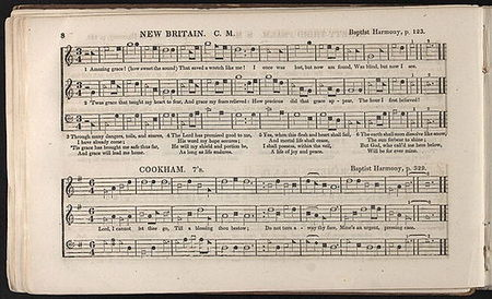 "Original long hymnal with shape note music notation of a tune titled ""New Britain"" set to Newton's first verse, with four subsequent verses printed below. Underneath is another hymn titled ""Cookham""."