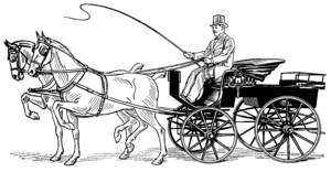 Drawing of a man holding a whip, sitting on top of an open carriage pulled by two horses.