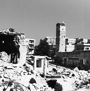 Bombed-out buildings and rubble