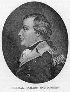 An oval head-and-shoulders profile portrait of Montgomery.  In this black and white engraving, he is wearing a military jacket with epaulets.  His long hair (possibly a wig) is tied back.
