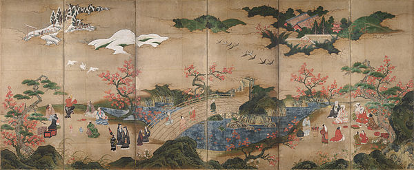 A painted screen of six panels depicting a park-like setting in which visitors enjoy the scenery.